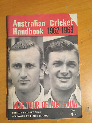1962-63 unusual Australian cricket handbook for MCC ahes tour Brochure vgc