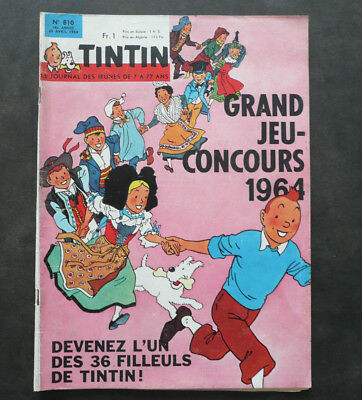 JOURNAL TINTIN N°810 Complet . Année 1964 Couverture Hergé. TBE
