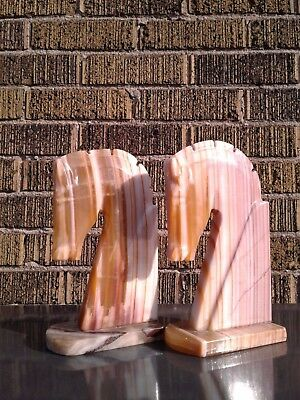 Pair of Marble Knight Bookends