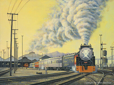 Original Painting by Railway Artist Marc Desobeau, Southern Pacific 4449, Framed
