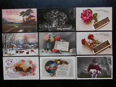 Original Family Collection of 96 Old GREETINGS POSTCARDS 1910/20s *SEE 10 SCANS*