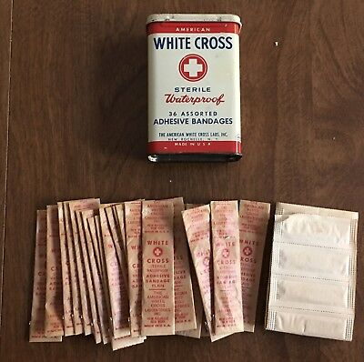 Vintage American White Cross Band Aid Tin With 36 Assorted Band Aids