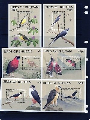 BHUTAN 1989 set of 12 Mini Sheets , 25n. Birds  Mtd MINT