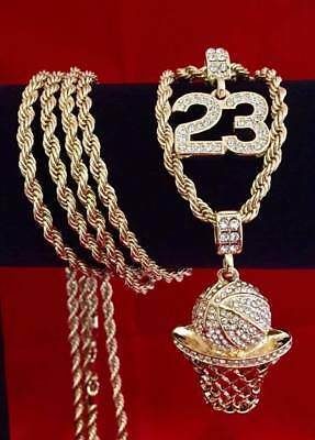 580452b56 Hip Hop Iced CZ 14K Gold GP #23 Jordan Basketball Pendant Rope Chain  Necklace