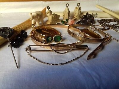 Antique & Vintage Rolled Gold Jewelry Job Lot Front & Back Whitby Jet & Carvings