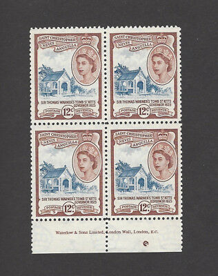 ST KITTS NEVIS QEII 1954-63 12 cents unmounted mint MNH imprint block of 4 SG113