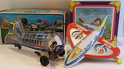 Greek Tin toys PRIFTIS windup AIRCRAFT No94 & JET PLANE Air Europe No95 1960s !