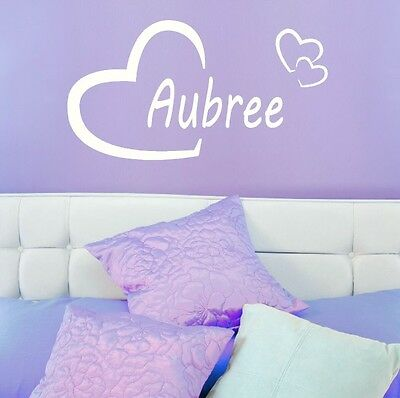 Aubree Girls Heart Name Wall Sticker + Love Heart Art Decor Transfers