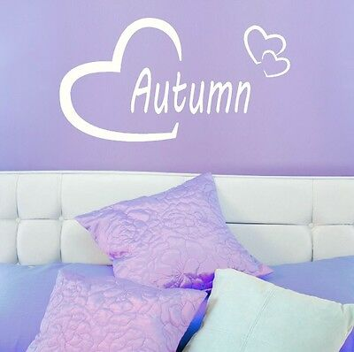 Autumn Girls Heart Name Wall Sticker + Love Heart Art Decor Transfers