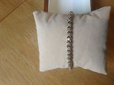 9Ct Yellow Gold Genuine Pale Pinky Champagne Diamond Bracelet In Solid Gold