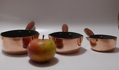 3 MINI VERY SMALL COPPER SAUCEPANS pouring BUTTER/MILK &c WOODEN HANDLES + BRASS