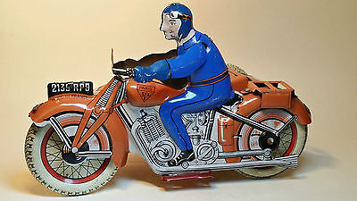 Tin toy SFA PARIS Vintage MOTORCYCLE Sidecar FRANCE Near MINT 1950's!