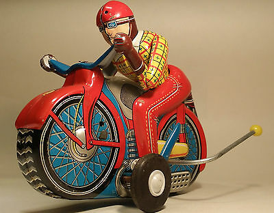 Tin toy ALPS motorcycle Flip Over RACER Friction Japan 1950's