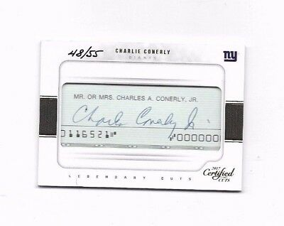 Charlie Conerly 2017 Certified Cuts Legendary Cut Auto 48/55 - Giants