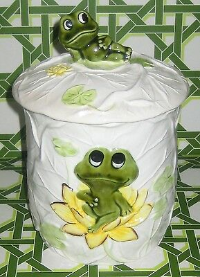 1970's Reclining NEIL The FROG w/LILY PADS Vintage JAPAN Pottery CANISTER