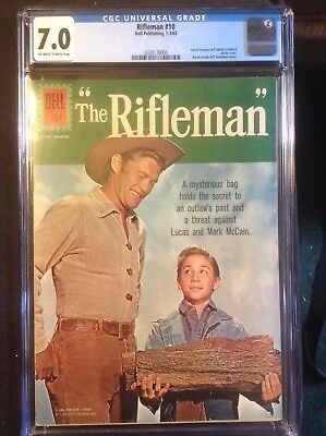 """RIFLEMAN #10  CGC 7.0 Off-White to White Pages Infamous """"Wood""""/Log Cover"""