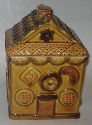 GINGER Bread HOUSE w/Assorted COOKIES ALL OVER Vintage JAPAN Pottery COOKIE JAR