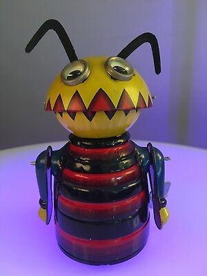 1965 Marx Mechanical Chompy the Beetle space bug toy robot  - blue, yellow, red