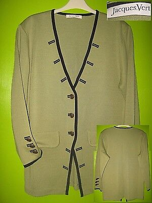 Vintage Jaques Vert Olive Green Woolblend Classic Knit Military Look Cardigan 16