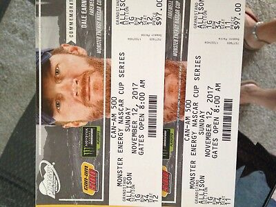 NASCAR TICKETS for the whole weekend. PHOENIX RACEWAY 11/10- 12, 2017 - QTY 2