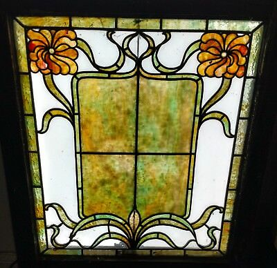 Antique c1895 American Victorian Stained Glass Window Floral Quantity