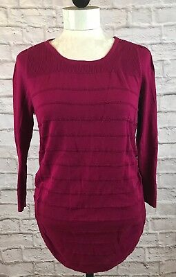 Oh Baby by Motherhood Maternity Maroon Lightweight Long Sleeve Sweater Size L