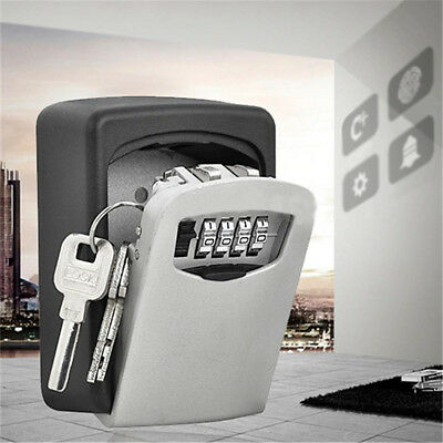 4 Digit Password Combination Key Safe Security Storage Box Lock Case &Wall Mount