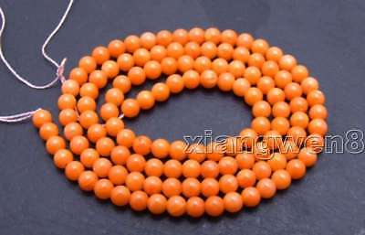 """SALE Small 3-4mm Round Natural Orange Coral Loose Beads 15"""" -los657"""