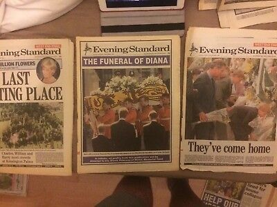 Evening Standard Sept 5-6- Princess Diana Death. Royal Family Deeply Touched.