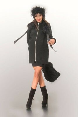 New Maternity Black Coat with detachable faux-fur collar Size S