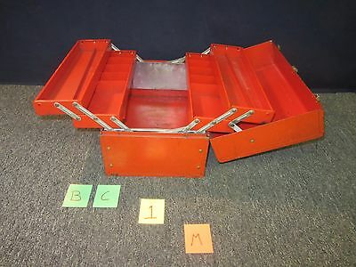Stack-On Cantilever  Red Metal Toolbox Shop Machine Military Vintage Used Bc1M