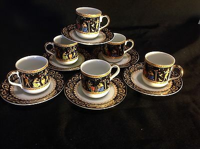 Vintage Unique Espresso Coffee Set 12 Pcs Egyptian  Design Made in Japan