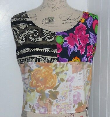 GENUINE VINTAGE 80s NEW CROP TOP PATCHWORK HOLIDAY FESTIVAL BOHO SHIRT 8 10