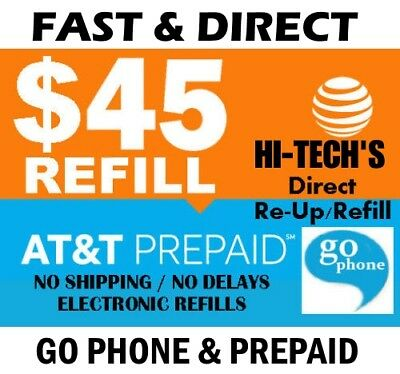$45 AT&T FASTEST GoPhone / Prepaid Electronic REFILL > 25yr USA TRUSTED DEALER