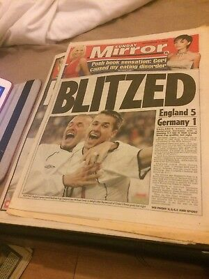 Sunday People  Mirror- Football Paper front and back for Germany 1 England 5,