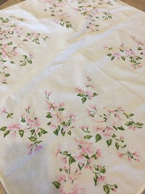 Vintage Floral Linen Tablecloth 33 Inches Square