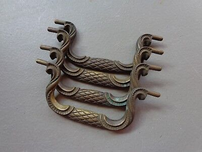 """Vintage Matching Set of 4 Brass Bail Swing Pulls (Bail Only) 3-1/2"""" Centers"""