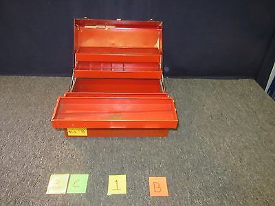 Stack-On Cantilever Toolbox Red Metal Shop Machine Military Vintage Used Bc1B