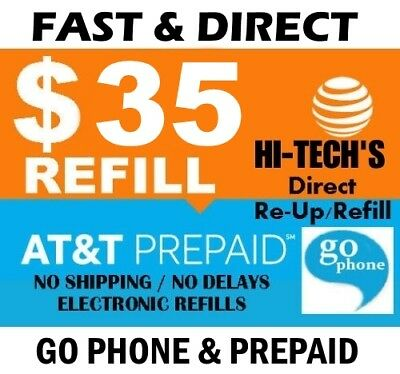 $35 AT&T PREPAID & GO PHONE FASTEST ONLINE REFILL 25yr USA TRUSTED DEALER