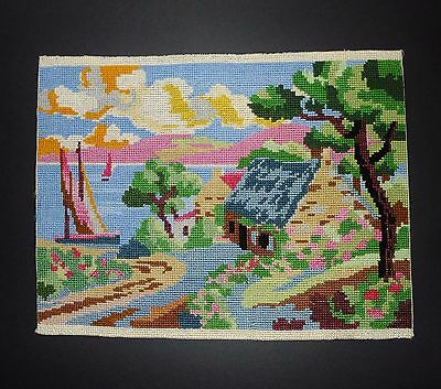 """Pretty vintage needlepoint - Summer time  -  14""""  x  10"""""""