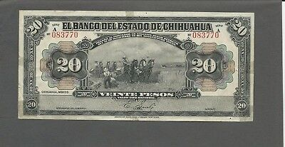 Mexico P-S134,M97 20 Pesos D.1913 F-VF holes, tape stains
