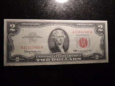 1963 United States Note $2 Two Dollars Red Seal A 01812485 A