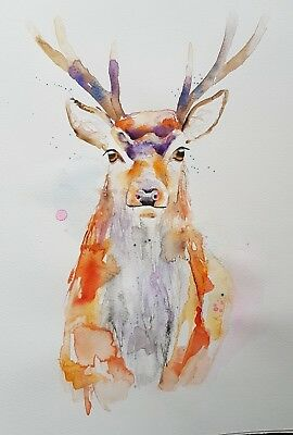 """Elle Smith Art.new Original Signed Wildlife Watercolour Painting. 16X12"""" Stag"""