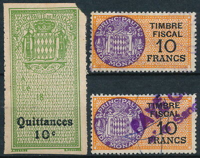 France - Monaco, Lot Of 2 Fine Diff. Revenues & One Mint But Small Fault. #t73