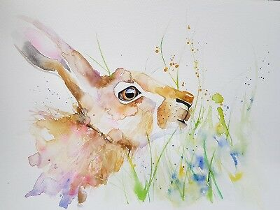 """Elle Smith Art.new Original Signed Wildlife Watercolour Painting. 16X12"""" Hare."""