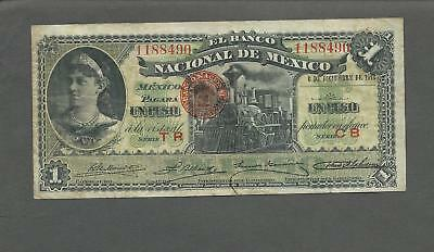 Mexico P-S255b,M296b 1 Peso 6-12-1913 F stains on back
