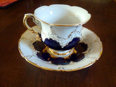 Meissen Cobalt Blue Teacup with heavy gilding, 'B' shape, Excellent Condition!