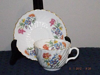 Aynsley White Swirls Overlaid With Florals Cup & Saucer, Superb!