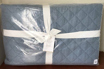 Pottery Barn Belgian Flax Linen Diamond King/Cal King Quilt~Chambray Blue