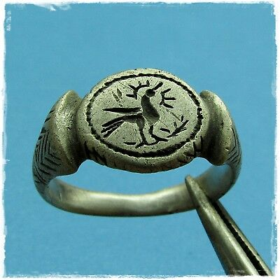 > PHOENIX- fire bird on the branch <  ANCIENT ROMAN SILVER RING !!!